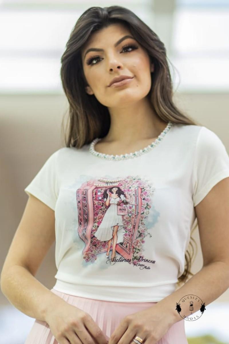 T-Shirt Feminina bordada com pérolas estampa exclusiva Barbie Rose Victórias Princess