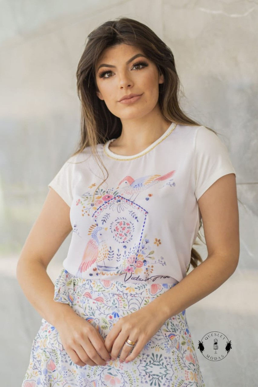 T-Shirt Feminina bordada com pérolas estampa exclusiva primavera birds Victórias Princess