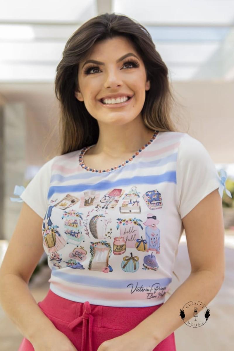 T-Shirt Feminina bordada com pérolas estampa exclusiva Tie Day Victórias Princess