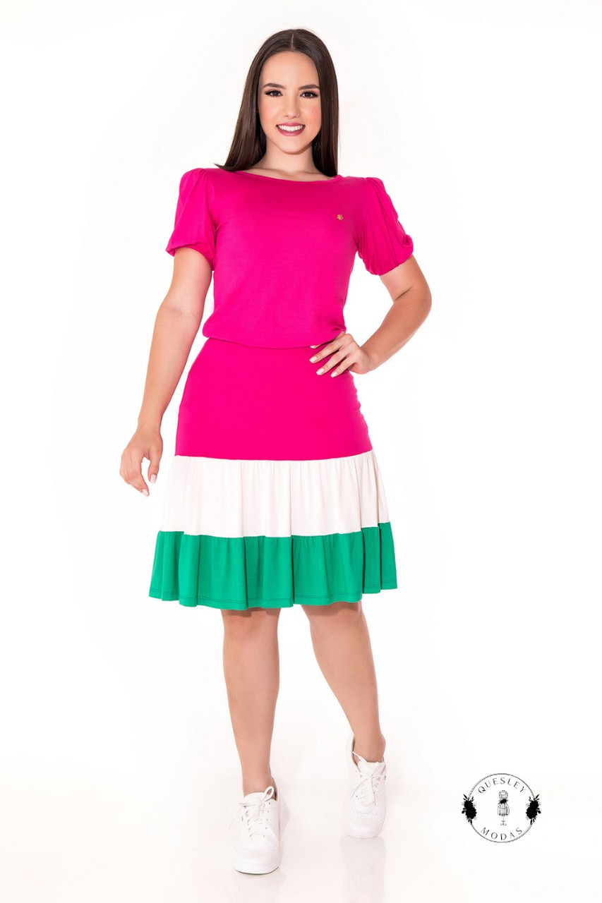 Vestido de malha color block Hadaza