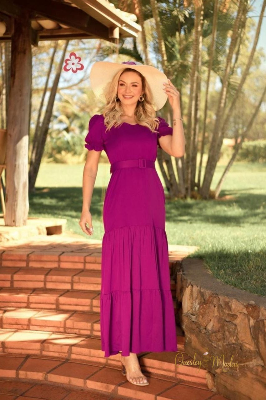 Vestido feminino Alexia com cinto Maria Amore