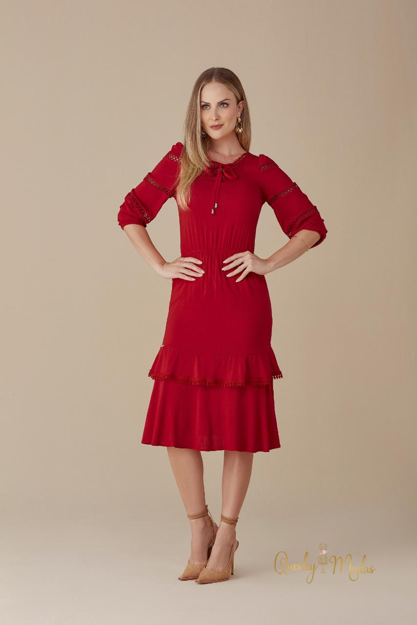 Vestido feminino Beni vermelho M de Maria