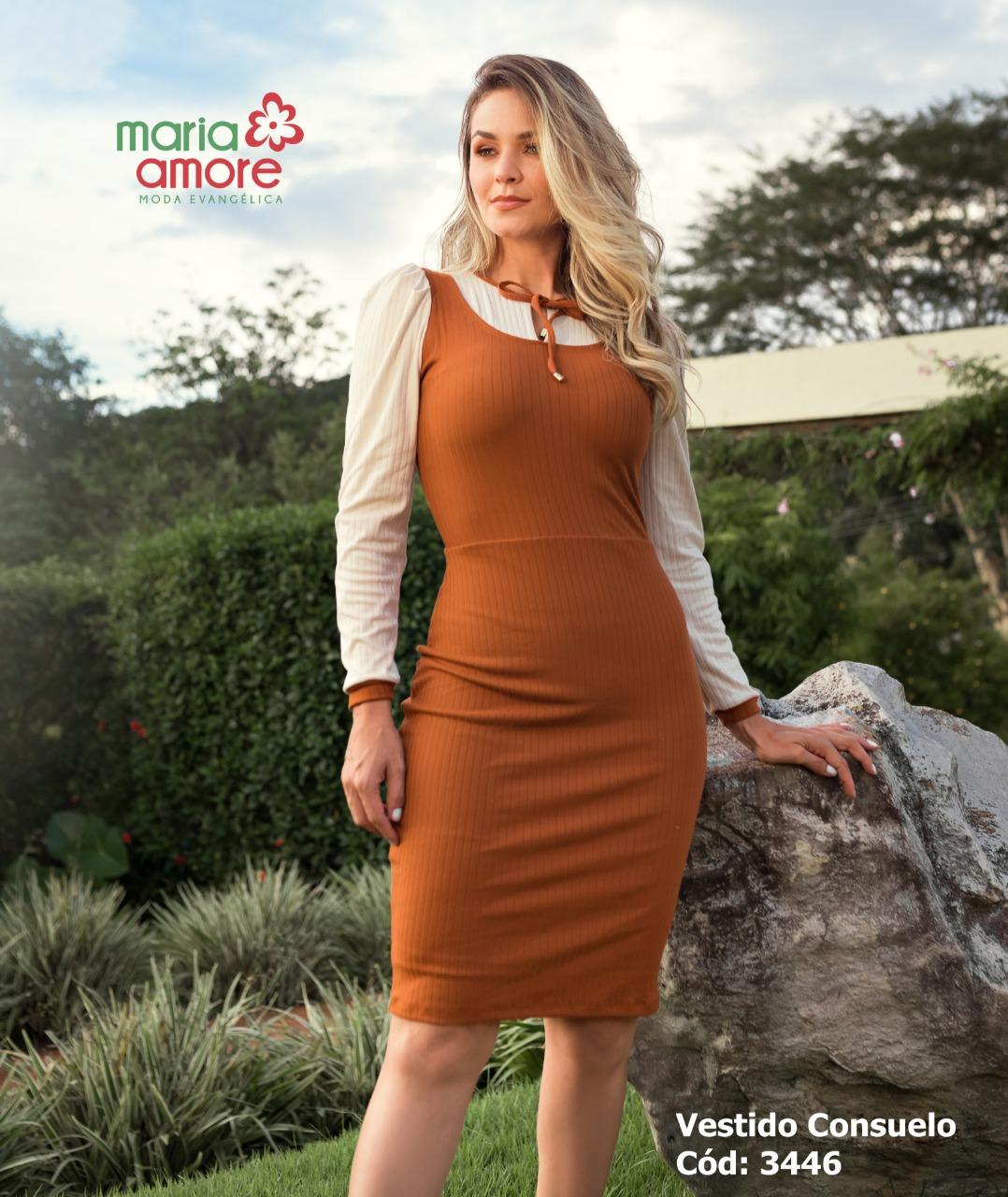 Vestido feminino canelado Lilian Maria Amore