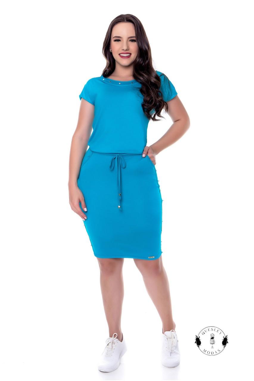 Vestido feminino com aplicação de pérolas Hadaza
