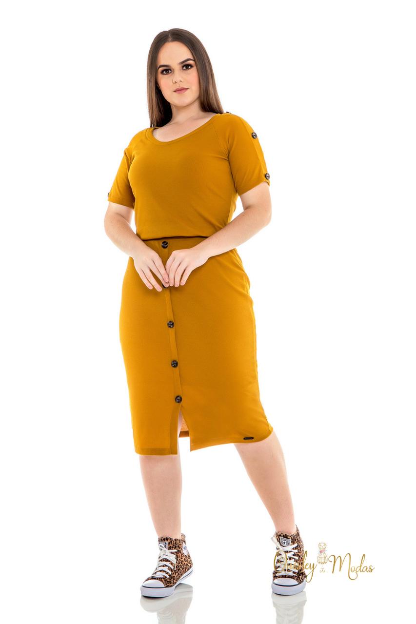 Vestido feminino com botões frontaisHadaza