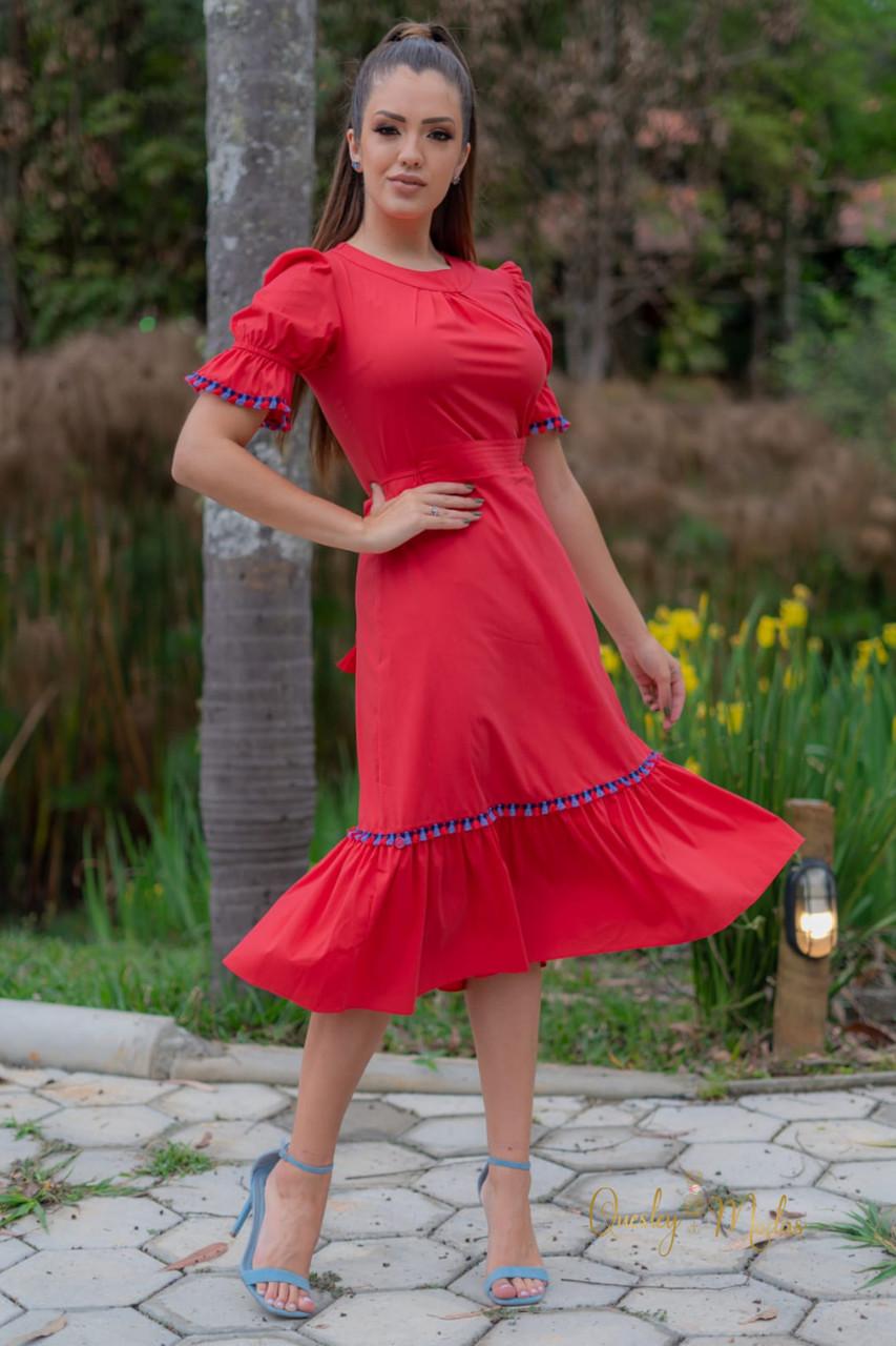 Vestido feminino com franja Luciana Pais