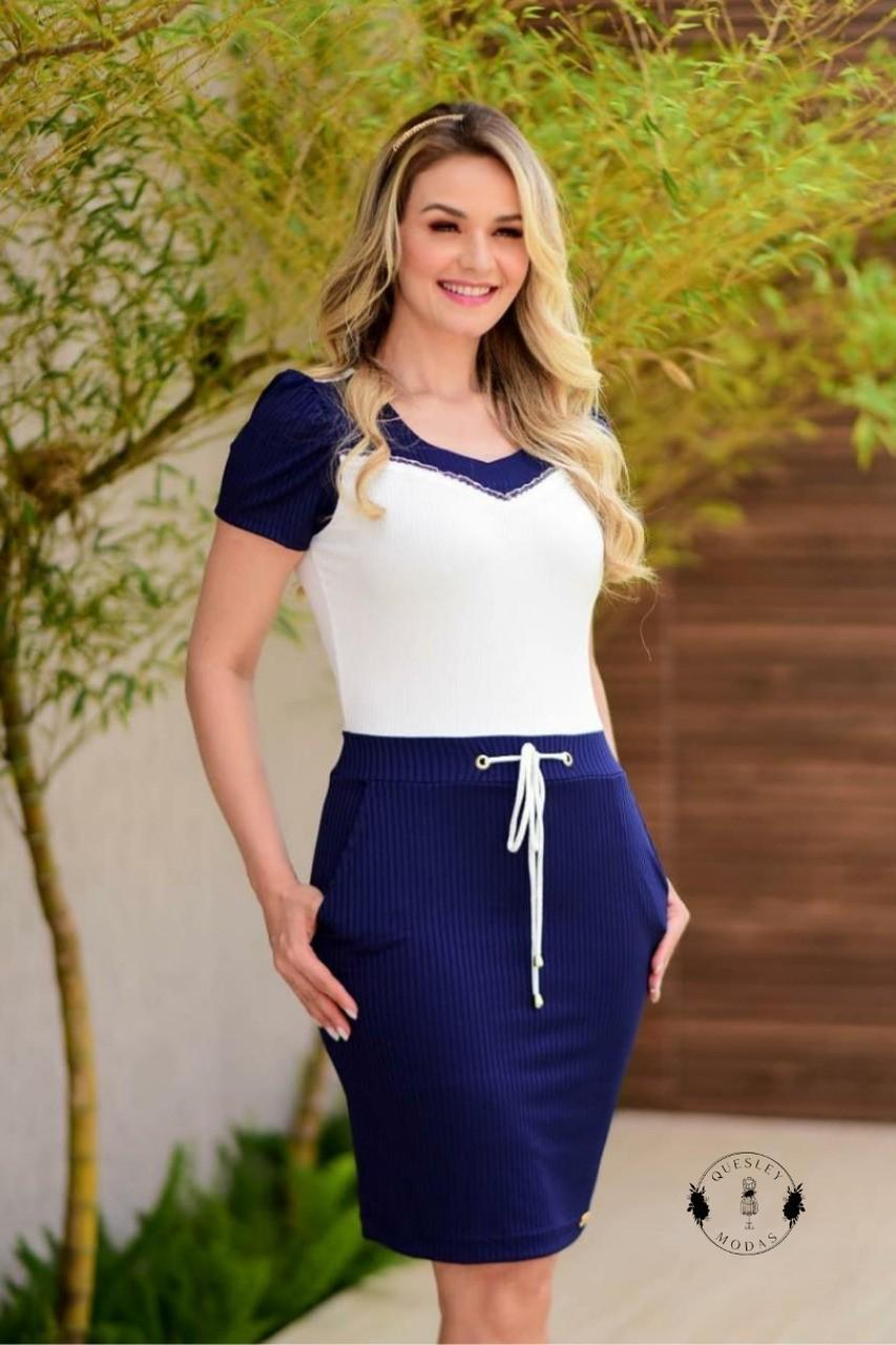 Vestido feminino composê com bolso Maria Amore