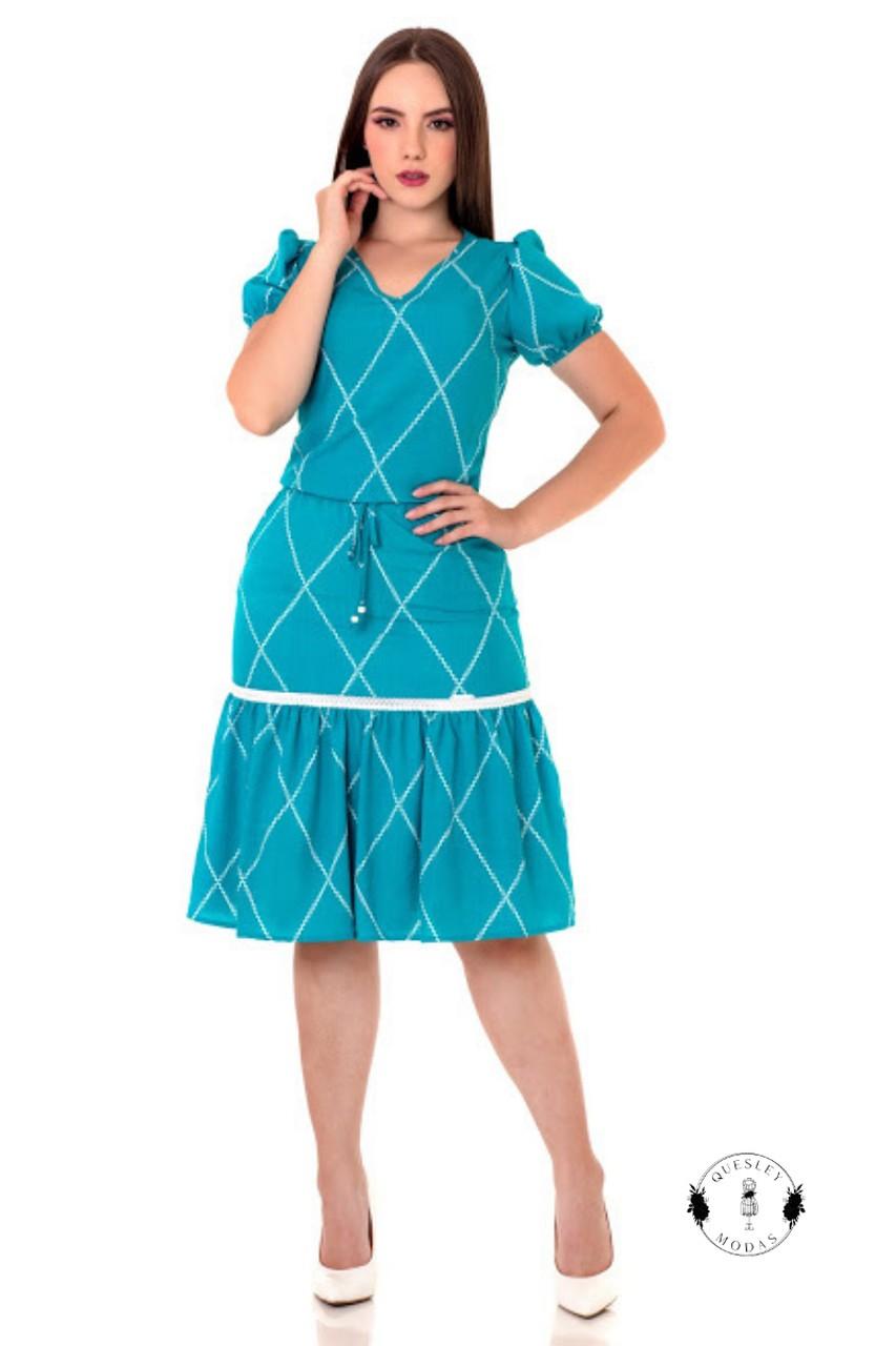 Vestido feminino detalhes entremeio Hadaza