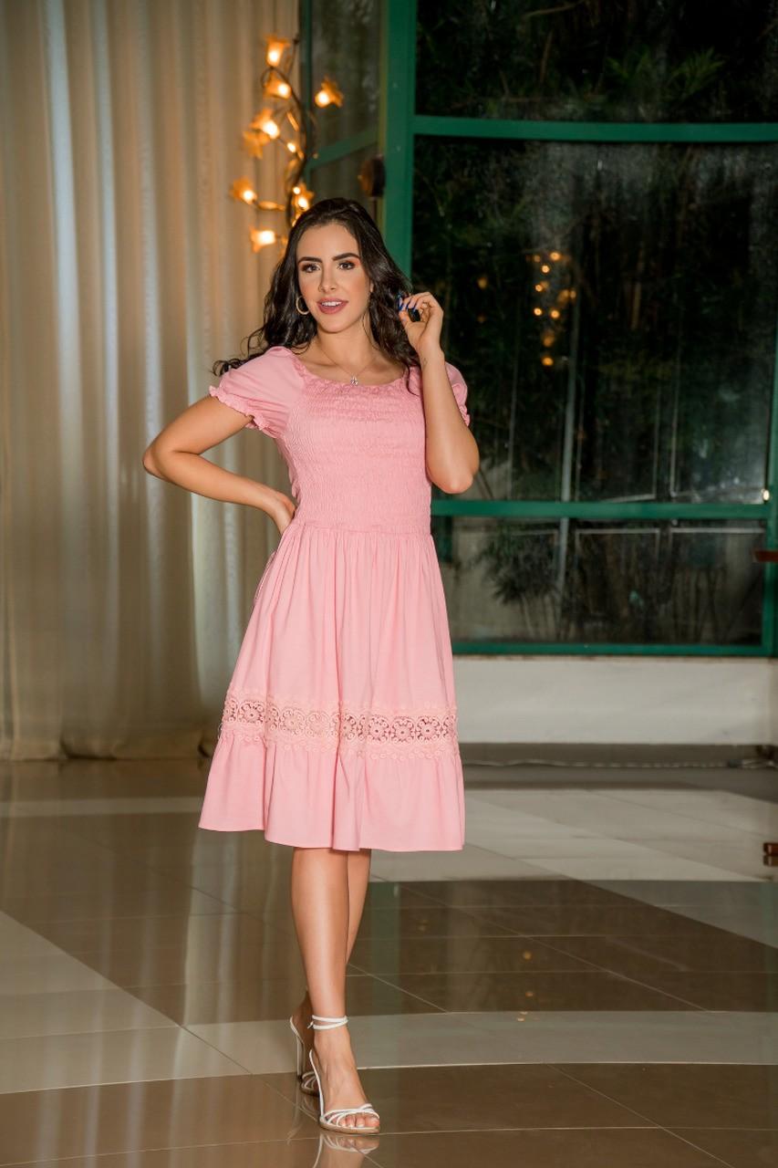 Vestido feminino elastec detalhes em renda Luciana Pais