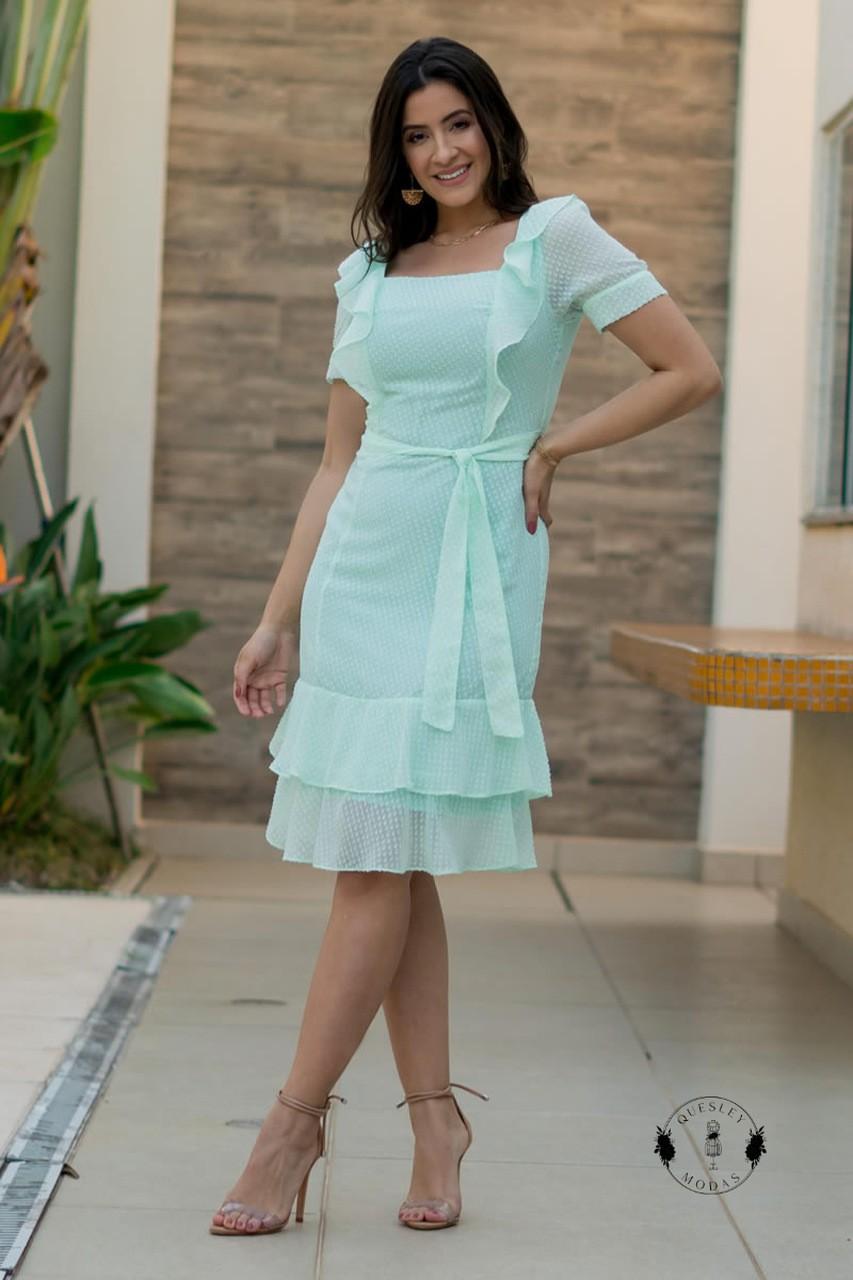 Vestido feminino em chiffon flocado com babados Luciana Pais