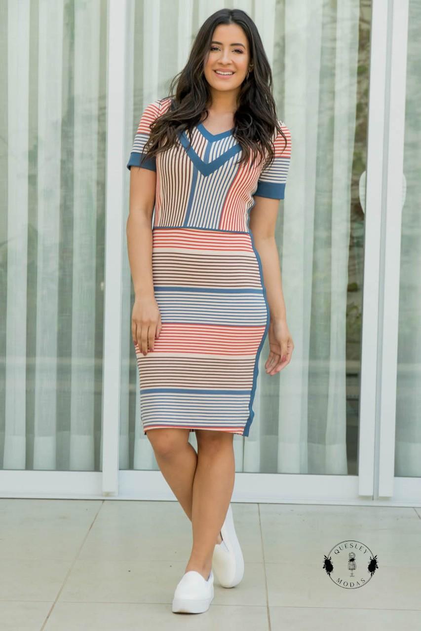 Vestido feminino em crepe malha com recortes Luciana Pais
