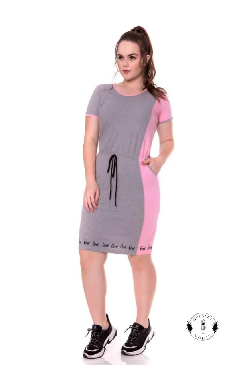 Vestido feminino em malha algodão recortes laterais e estampa barra Hadaza