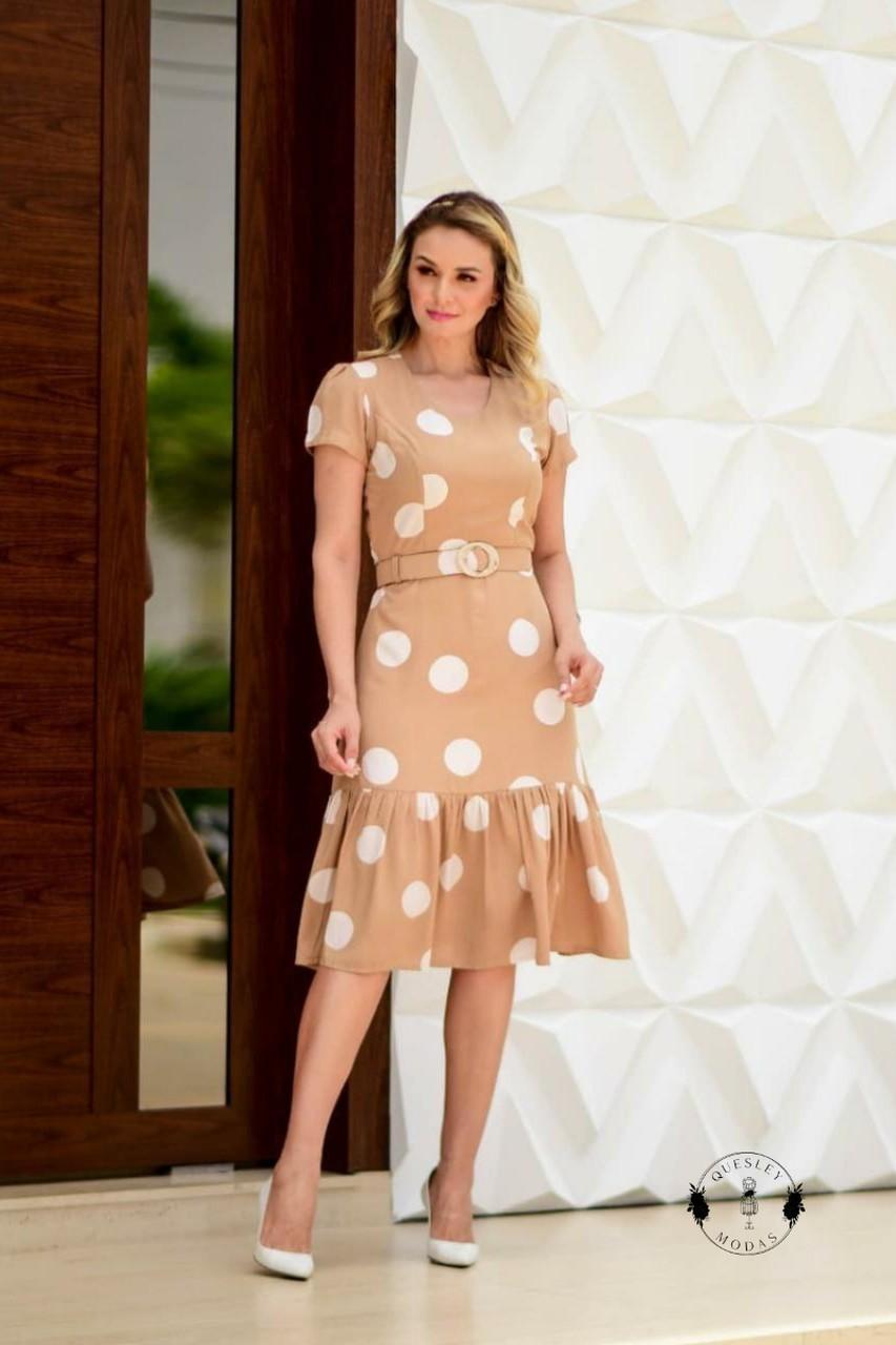 Vestido feminino em poá e cinto Maria Amore