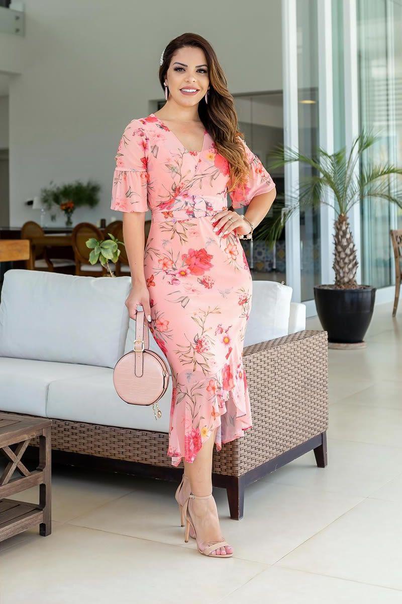 Vestido feminino em tule floral mullet luciana pais