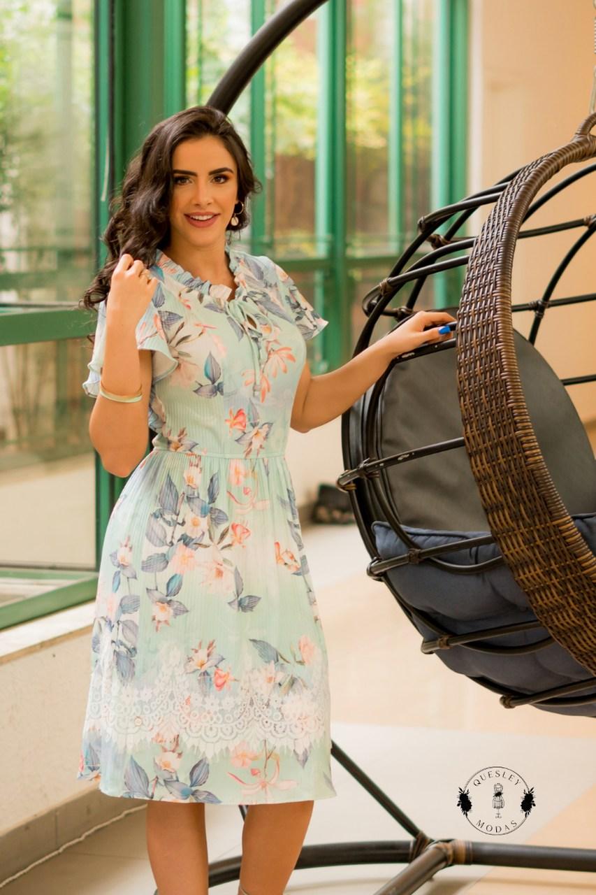 Vestido feminino estampado detalhes em renda Luciana Pais