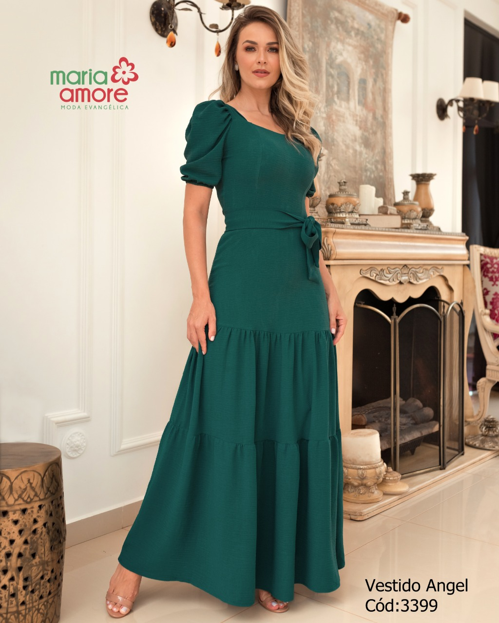 Vestido feminino longo com faixa Angel Maria Amore