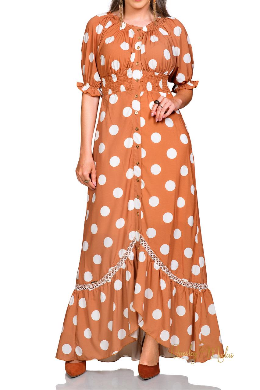 Vestido feminino longo em poá Rowan