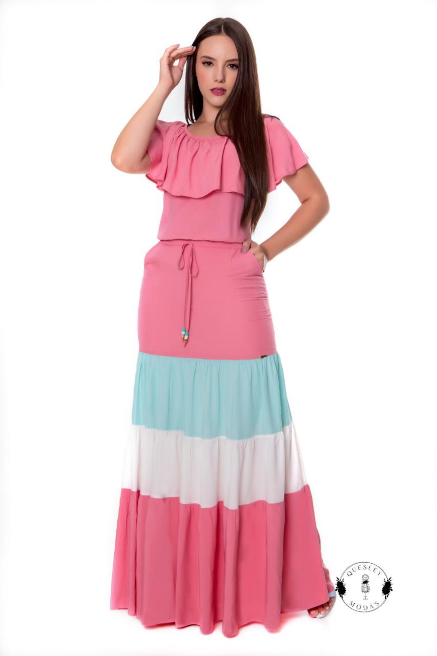 Vestido feminino longo recortes coloridos Hadaza