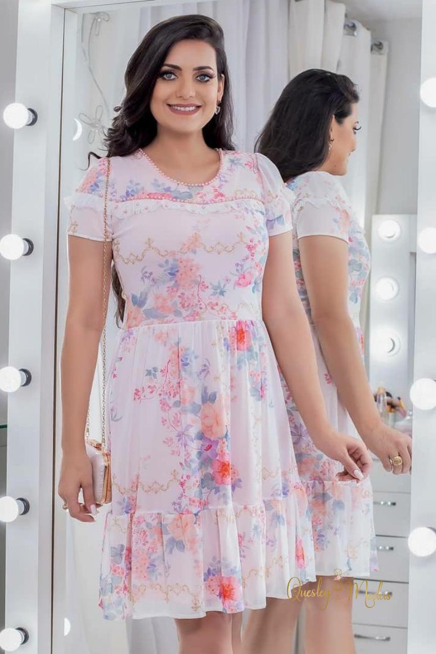 Vestido feminino Luana tule bordado Maria Amore