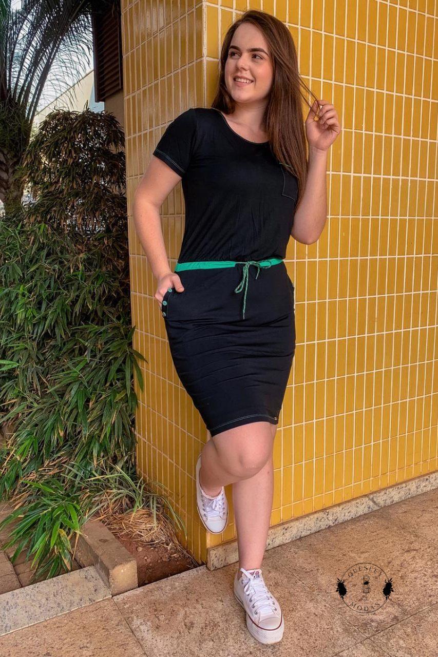 Vestido feminino malha canelada com cadarço Hadaza