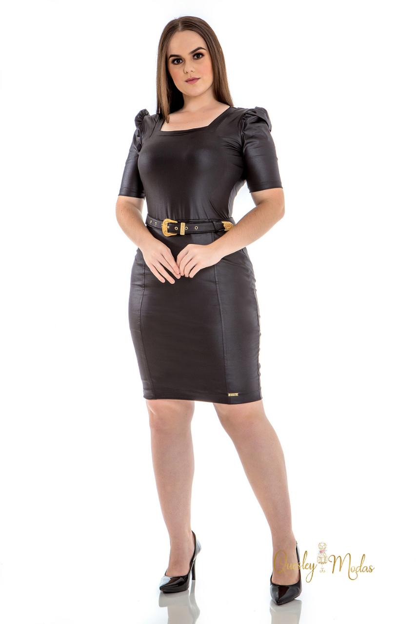 Vestido feminino malha couro com cinto Hadaza
