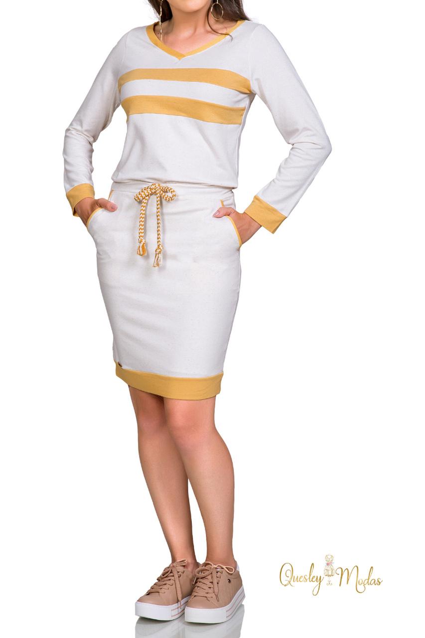 Vestido feminino manga longa com bolso Rowan