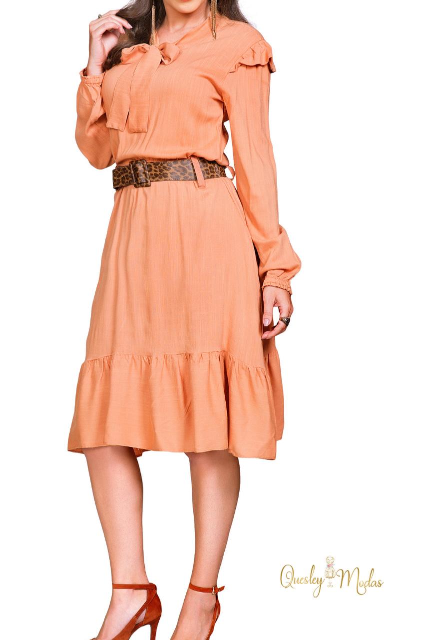 Vestido feminino manga longa com cinto Rowan
