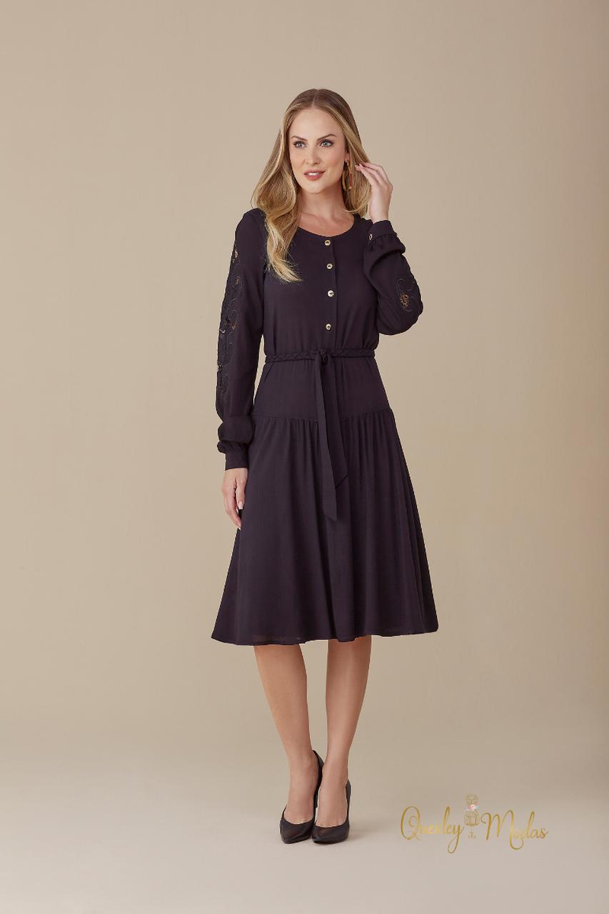 Vestido feminino manga longa Gracie preto M de Maria