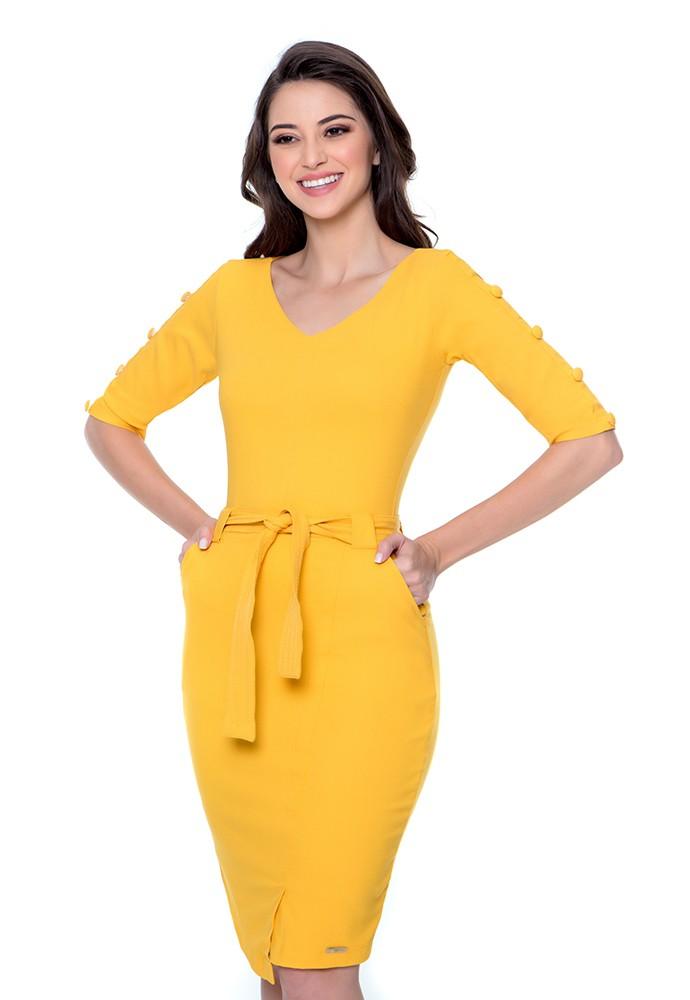 Vestido feminino Micaela com faixa de amarração Hapuk