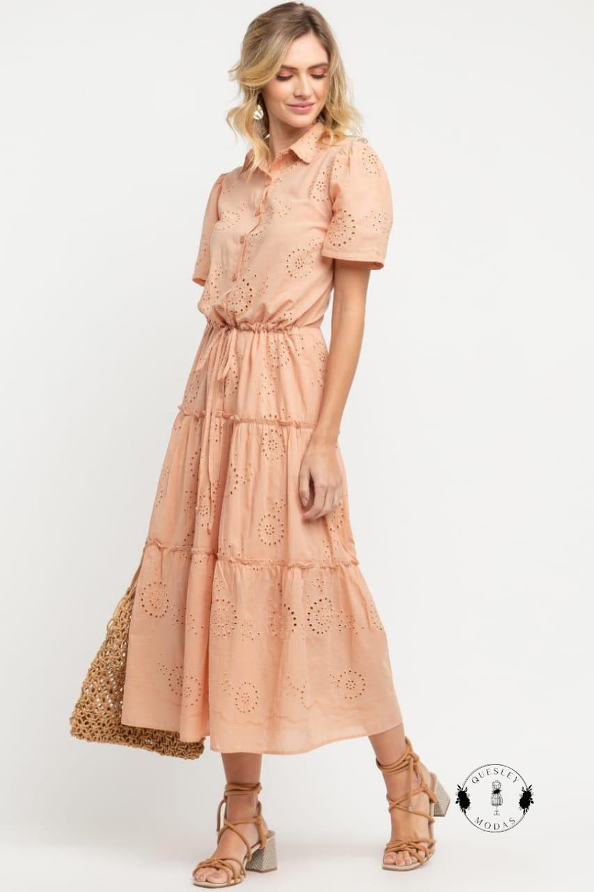 Vestido Feminino Midi em Laise com botões frontal Presage