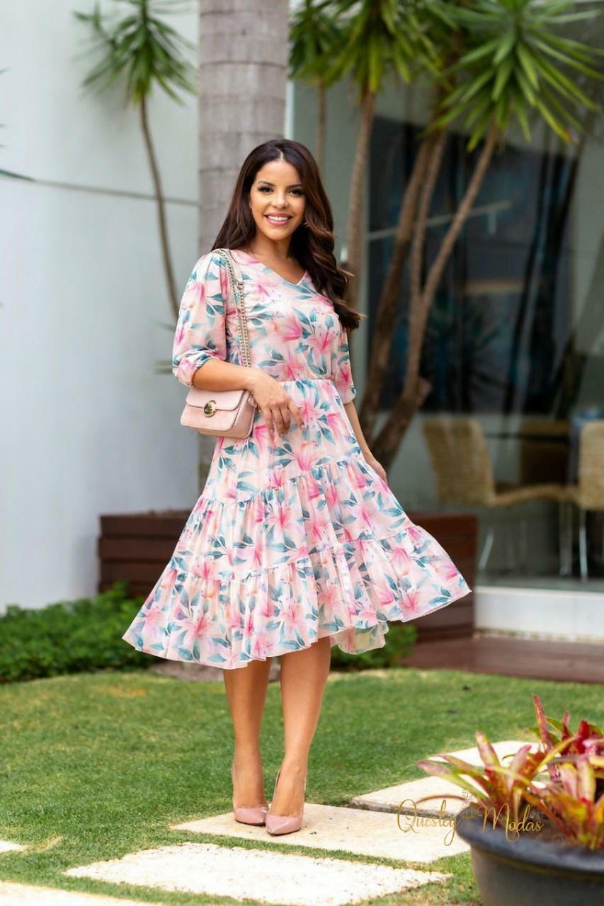 Vestido feminino midi em tule floral Maria Amore
