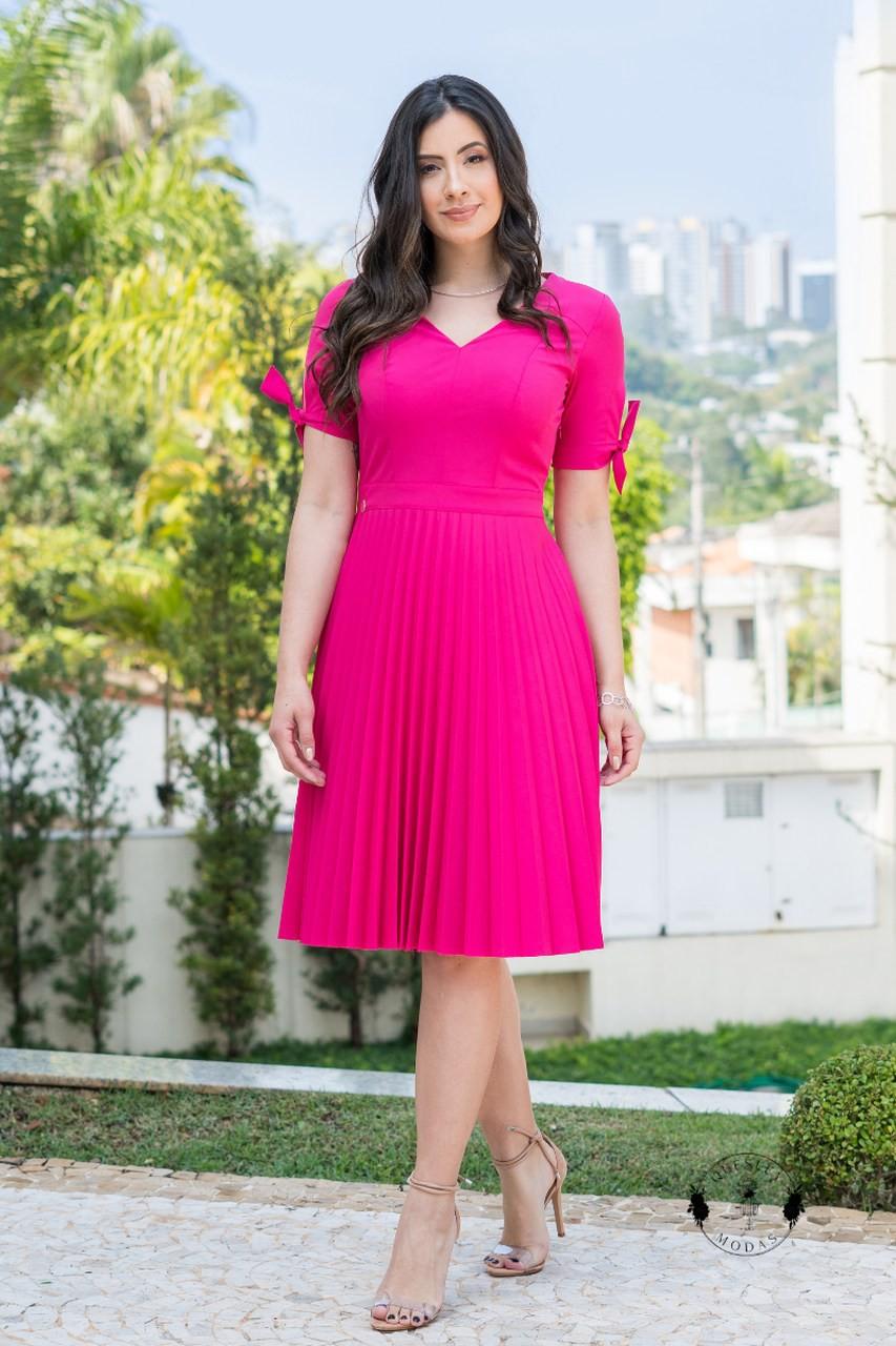 Vestido Feminino Plissado Luciana Pais