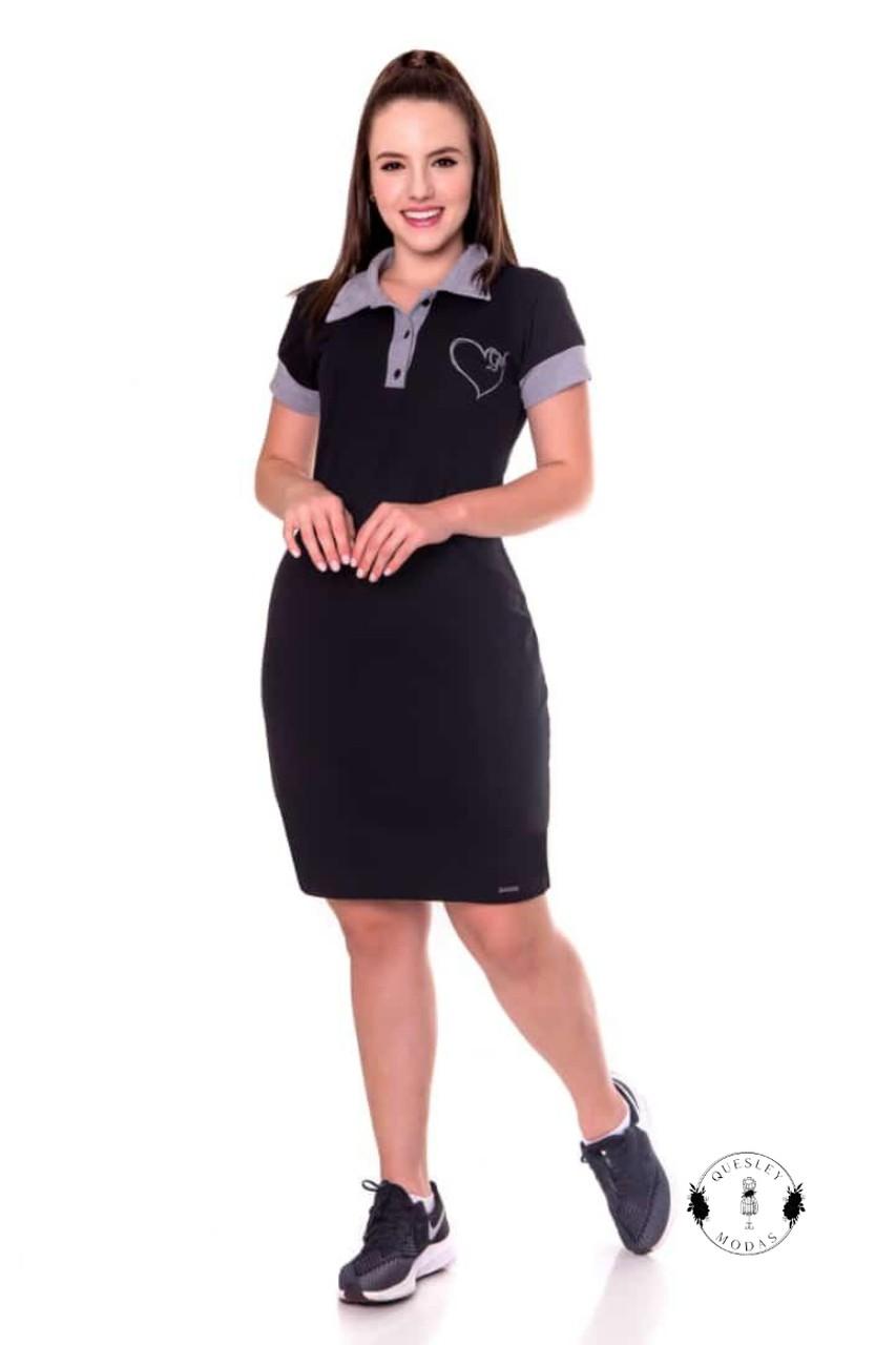 Vestido feminino polo em malha piquet com estampa frontal Hadaza