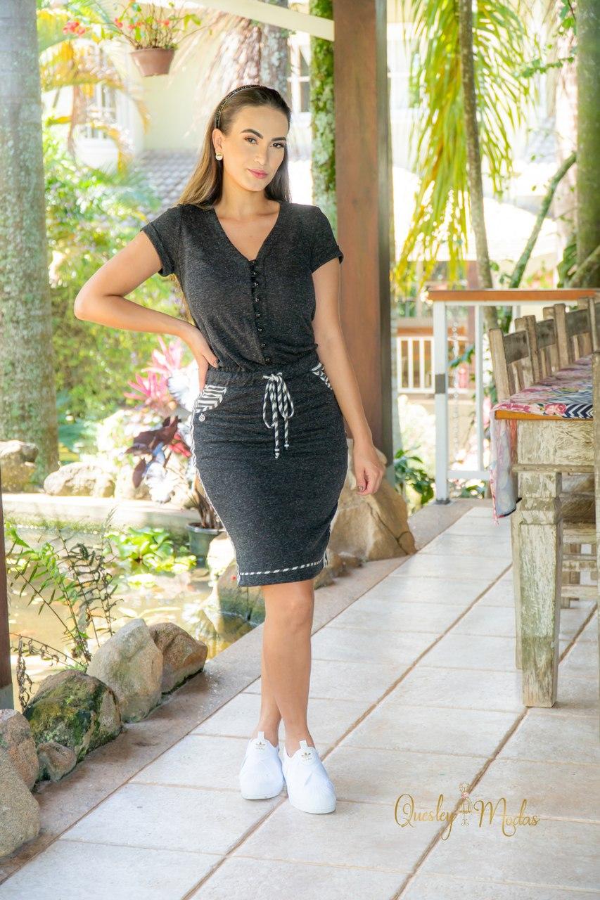 Vestido feminino Reni blusê em malha eco Luciana Pais