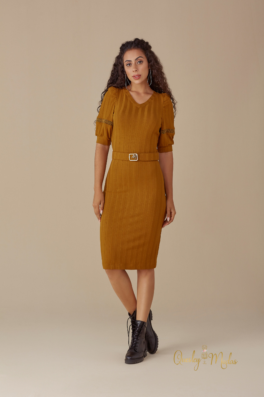 Vestido feminino Traci mostarda M de Maria