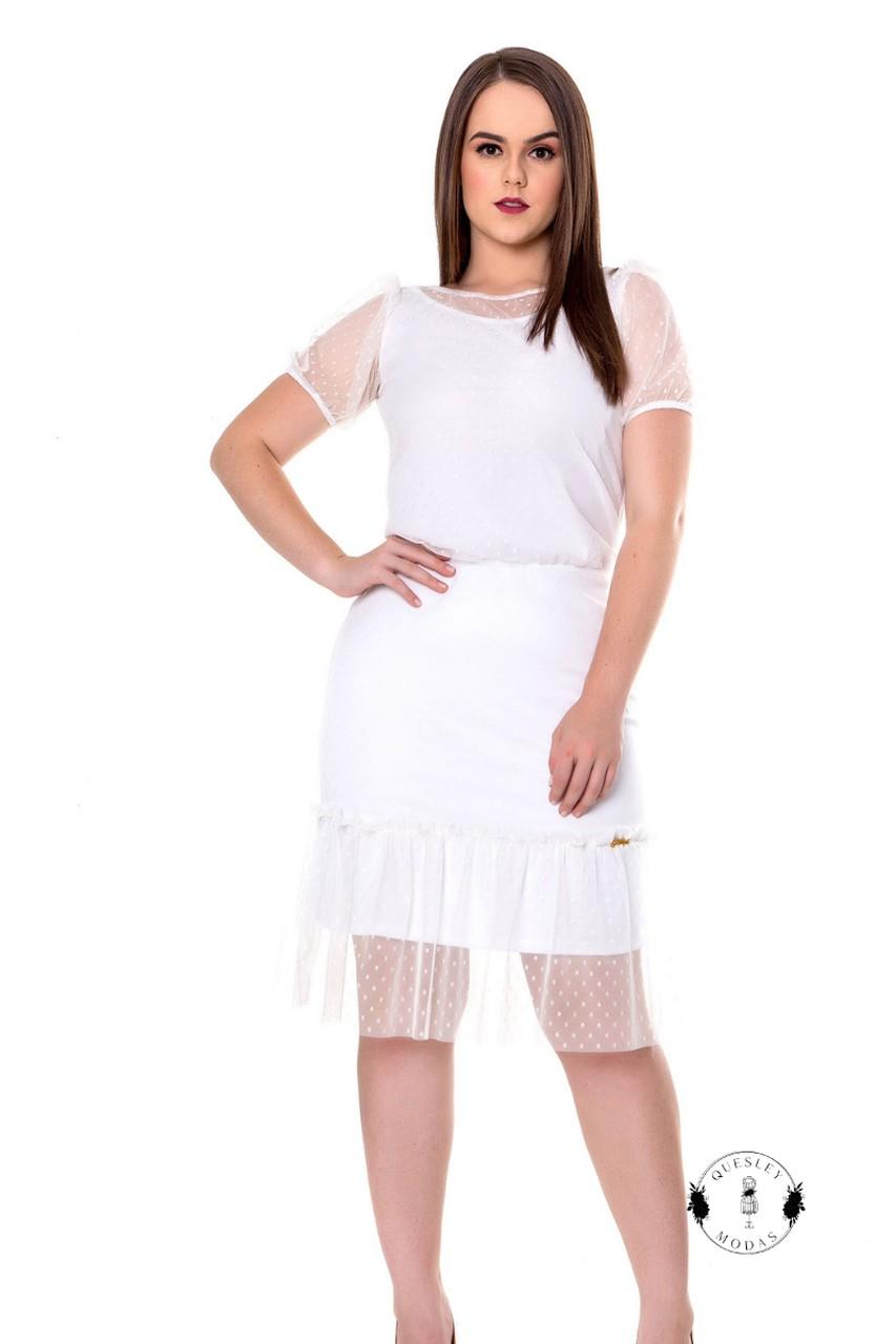 Vestido feminino tule poá Hadaza
