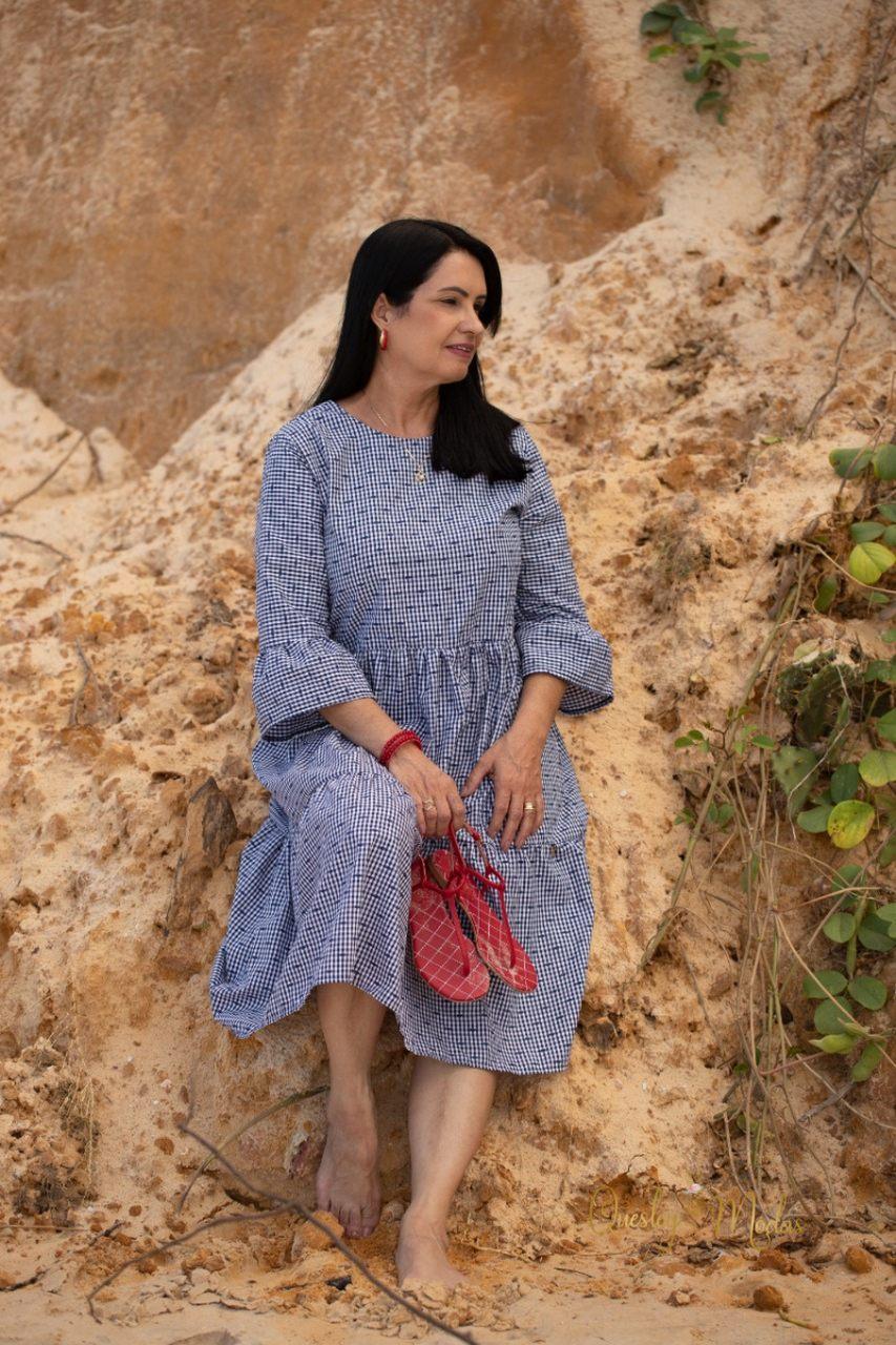 Vestido Petrolina midi Valentina Sirrah