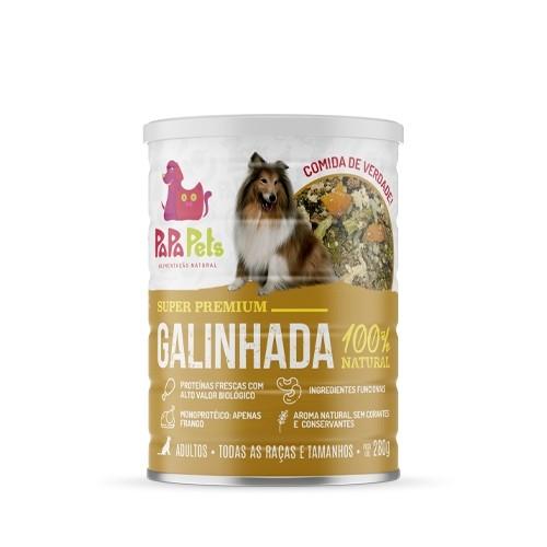 Alimentação Natural Papa Pets Lata Para Caes Adultos Sabor Galinhada
