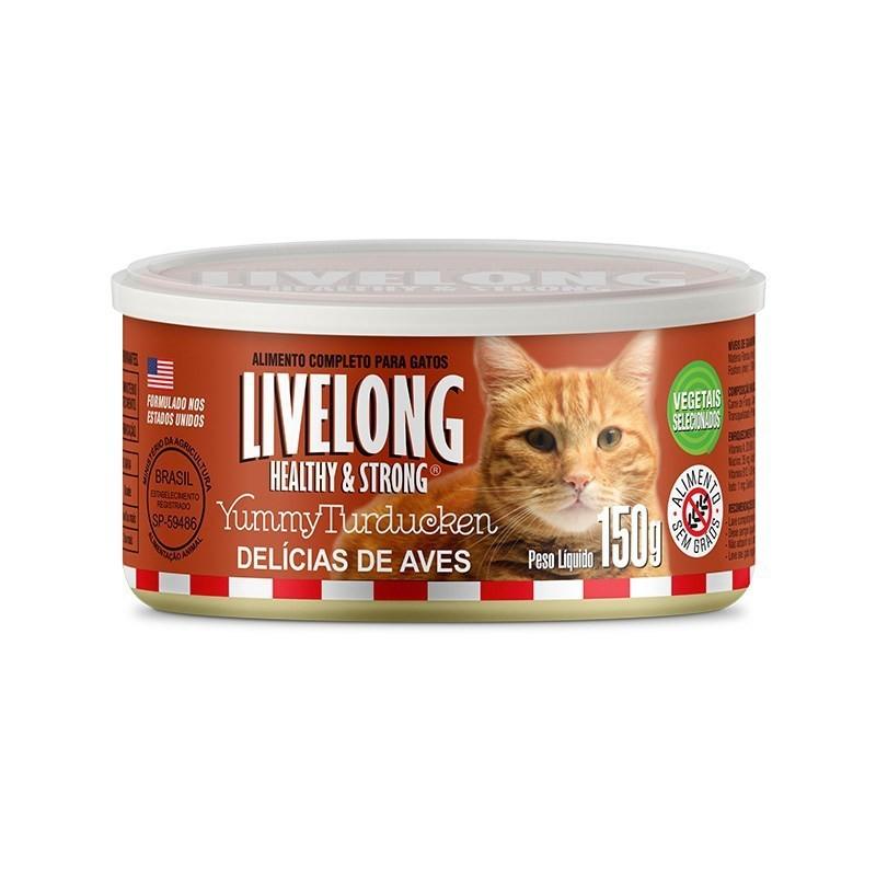 Alimento úmido livelong lata aves para gatos adultos 300g