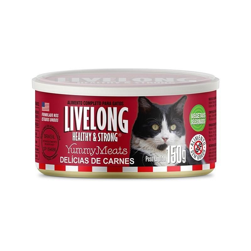 Alimento úmido livelong lata carne para gatos adultos 300g