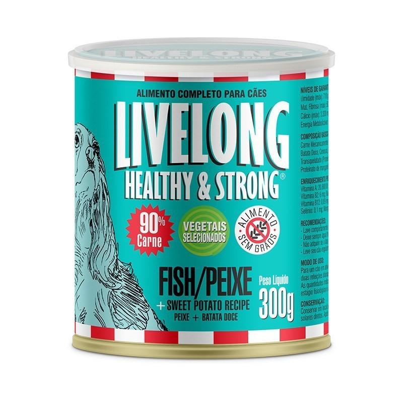 Alimento úmido livelong lata peixe para cães adultos 300g