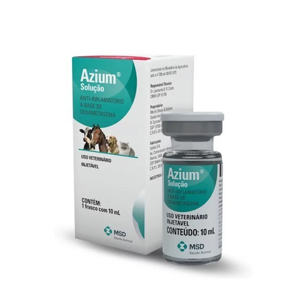 Anti-inflamatório msd azium injetável 10ml para cães e gatos