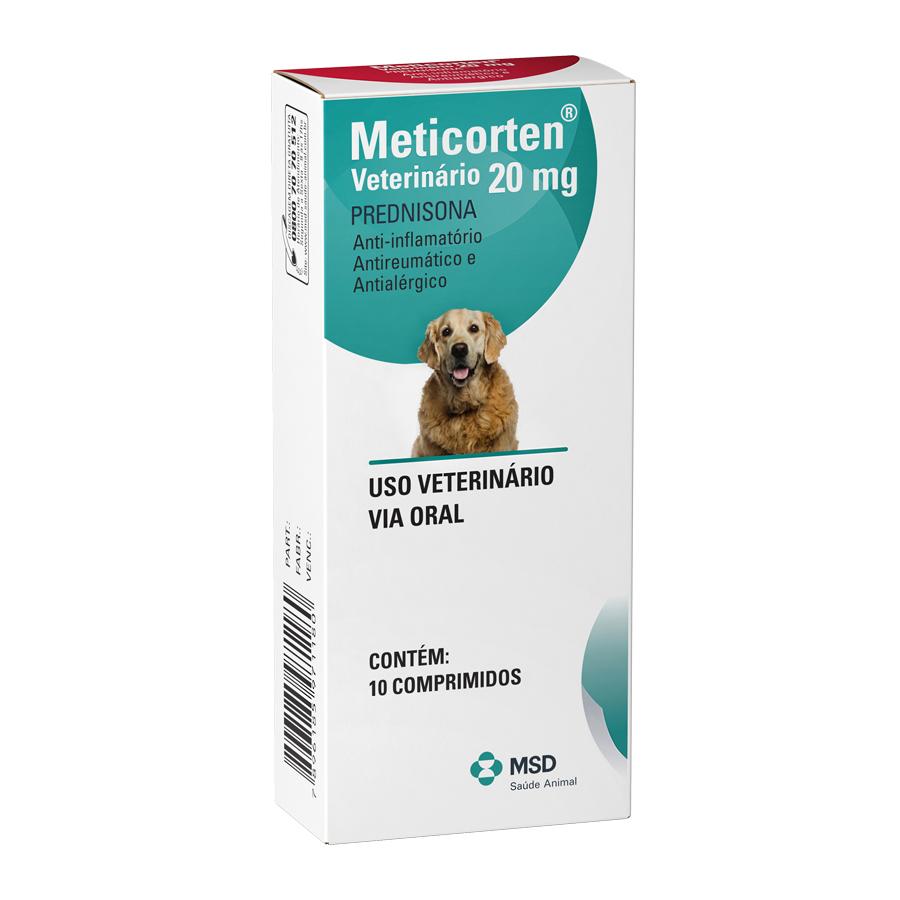 Anti-inflamatório msd meticorten vet 20mg para cães com 10 comprimidos