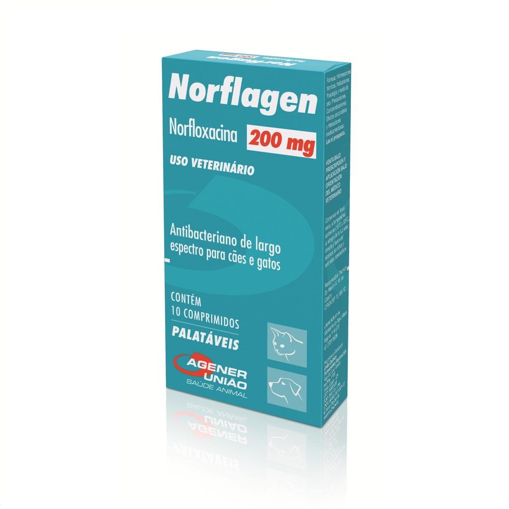 Antibacteriano norflagen 200 mg para cães e gatos com 10 comprimidos