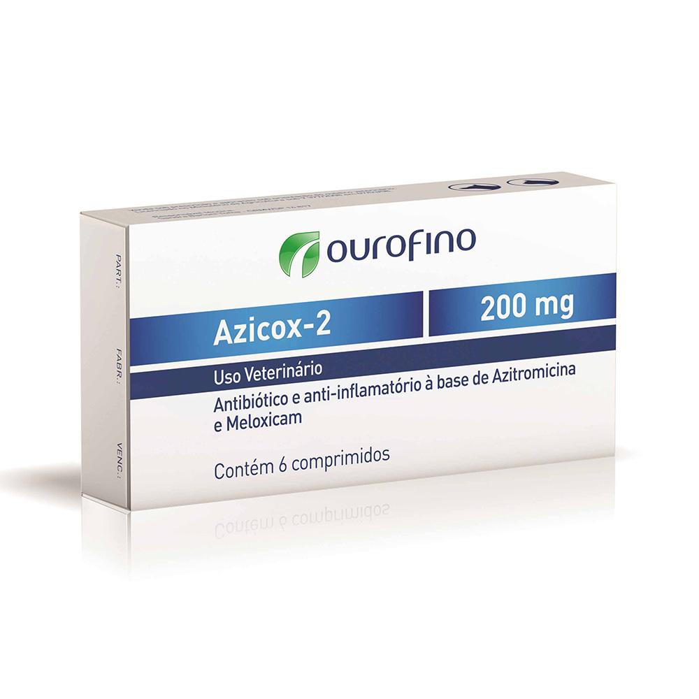 Antibiótico e anti-inflamatório ouro fino azicox-2 200mg para cães e gatos de 6 comprimidos