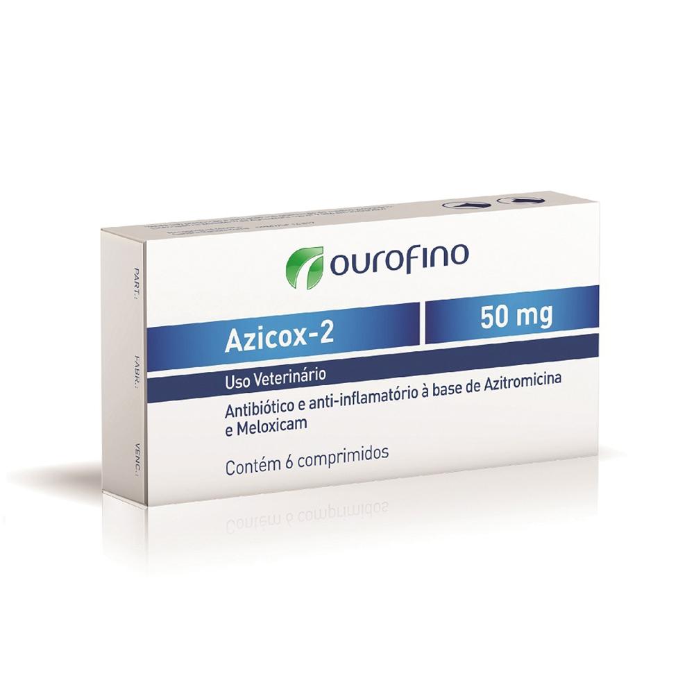 Antibiótico e anti-inflamatório ouro fino azicox-2 50mg para cães e gatos de 6 comprimidos