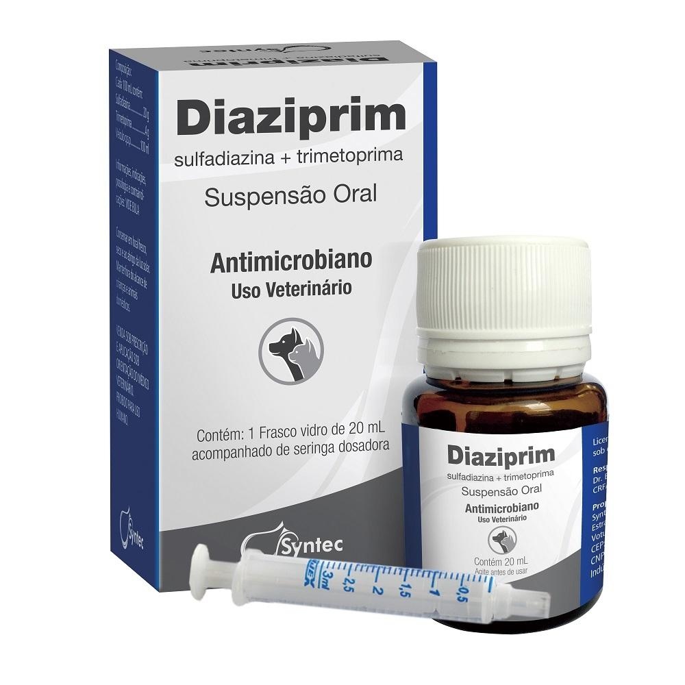 Antibiótico syntec diaziprim oral para cães e gatos 20ml