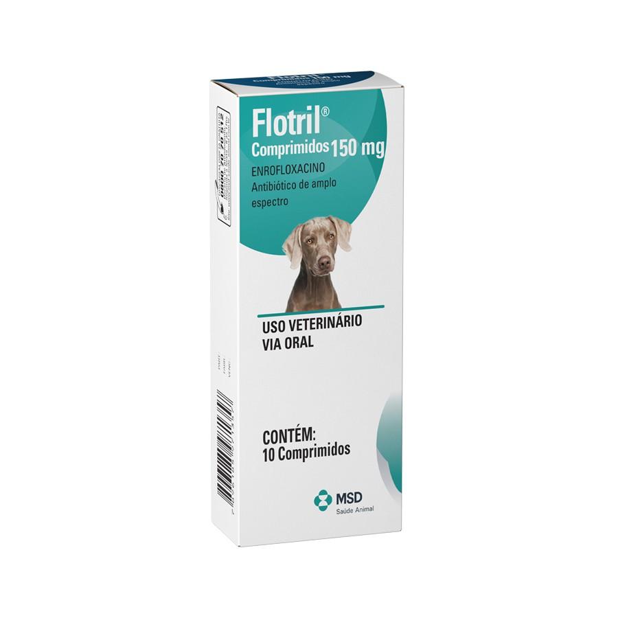 Antimicrobiano msd flotril 150mg para cães com 10 comprimidos