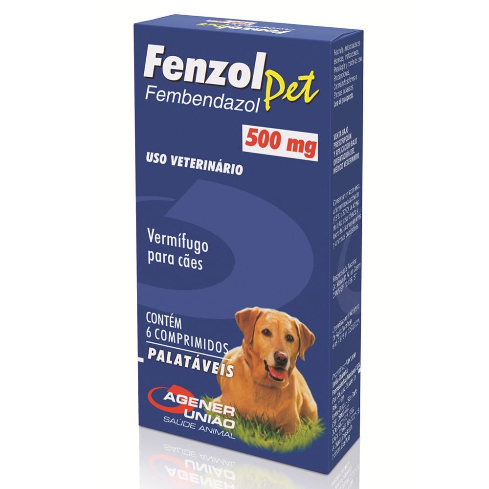 Antiparasitário fenzol pet agener união 500mg com 6 comprimidos
