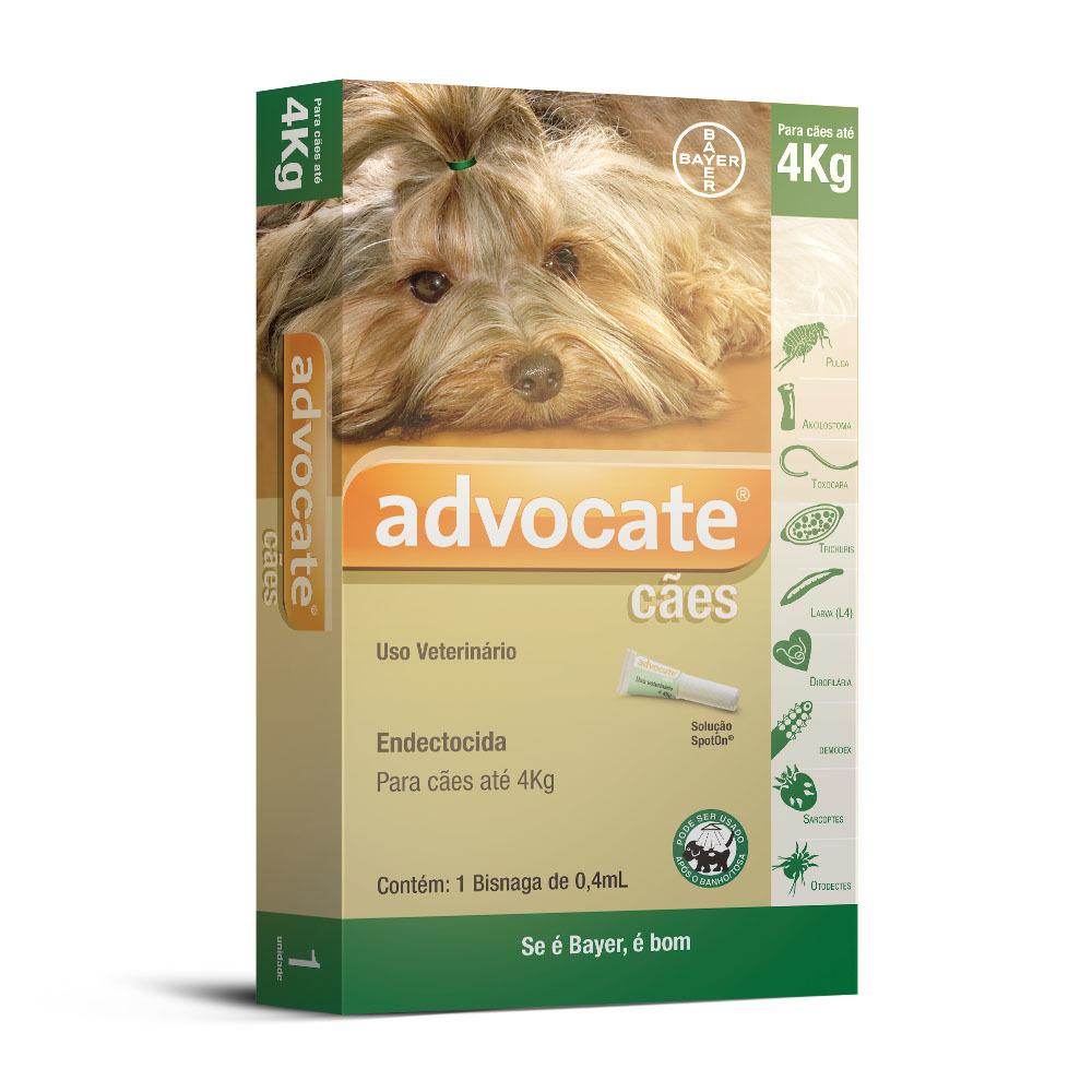 Antipulgas bayer advocate 0.4ml para cães até 4kg